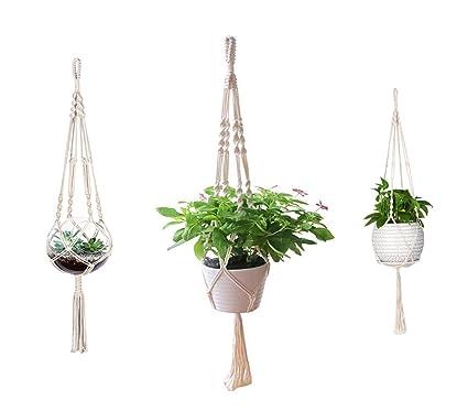 Amazon Com Aomgd 3 Pack Macrame Plant Hanger Indoor Outdoor Hanging