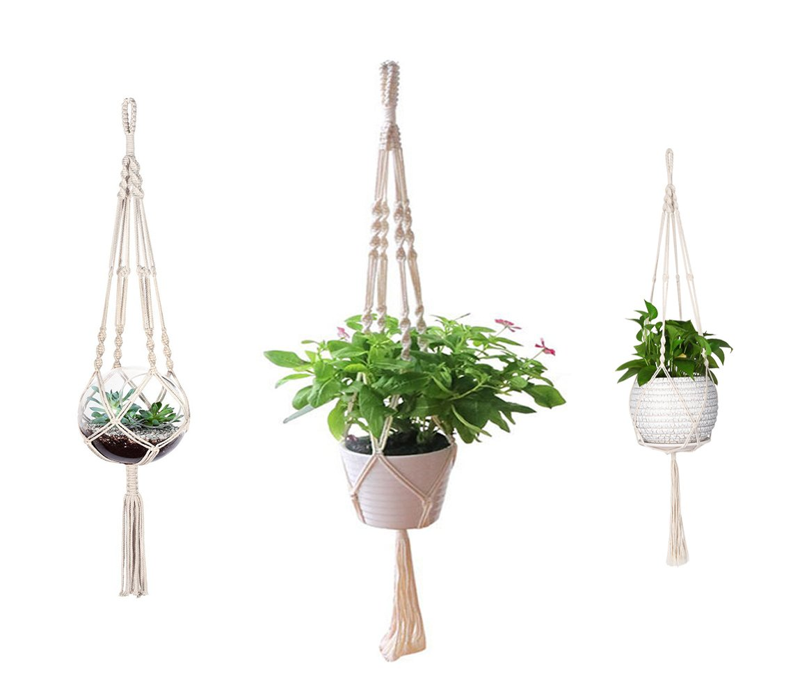 AOMGD 3 Pack Macrame Plant Hanger Indoor Outdoor Hanging Plant Holder Hanging Planter Stand Flower Pots for Decorations - Cotton Rope, 4 Legs, 3 Sizes