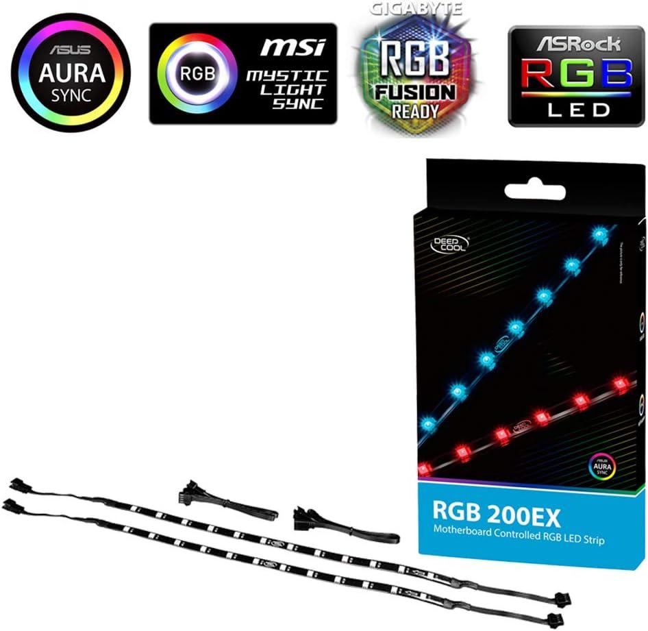 DEEPCOOL RGB 200EX 550mm Cintas de Luz LED RGB para Caja de Ordenador, Controlable por Placa Base(12V), adjunta a su PC a través de Imán/ Cintas adhesivas de doble cara (2 Piezas)