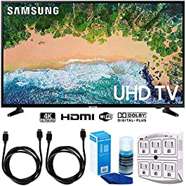 SAMSUNG UN50NU6900 50″ NU6900 Smart 4K UHD TV (2018) w/Accessories Bundle Includes, 2X 6ft HDMI Cable, LED TV Screen Cleaner (Large Bottle) and SurgePro 6-Outlet Surge Adapter w/Night Light