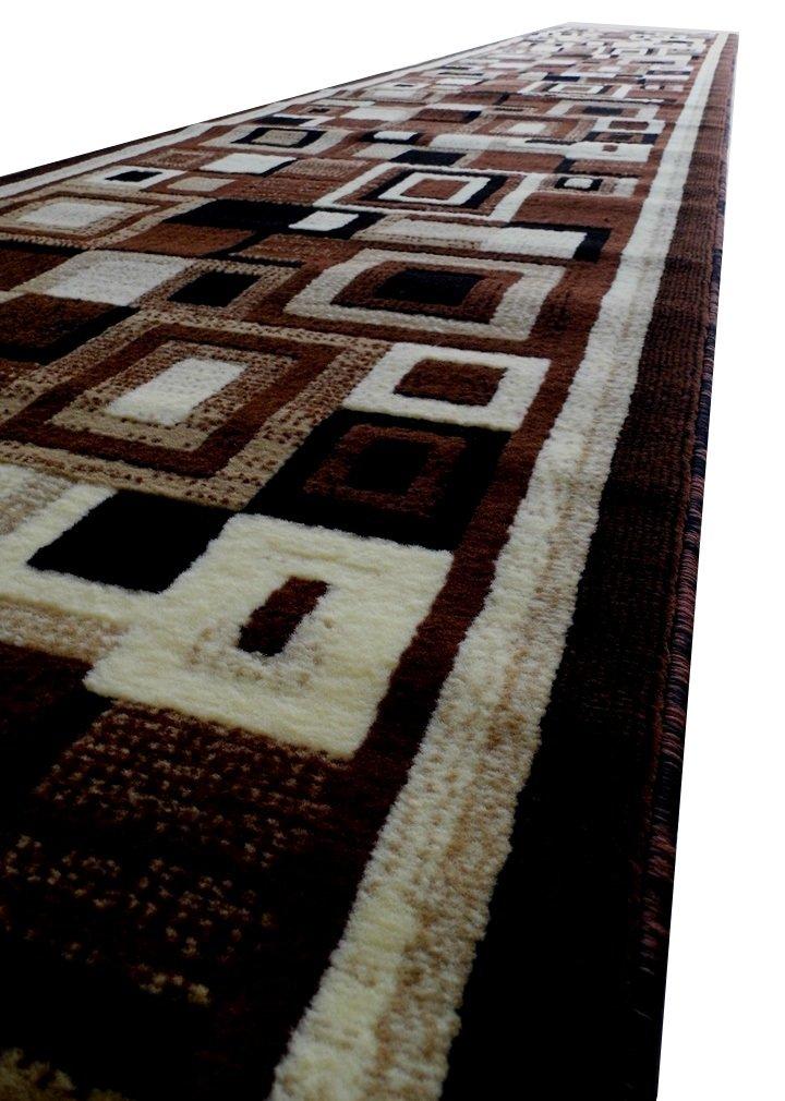 Masada Rugs Modern Long Rug Runner 32 in 10 in X 15 Ft Brown Design # 125