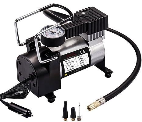 Compresor de Aire Para Coche, JRing 12V Compresor automático con motor de alto rendimiento para