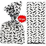 24 Cellophane Mustache Goody or Favor Bags