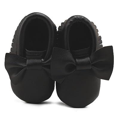 283ccd3e39d90 DELEBAO Chaussure Bébé Chaussure PU Cuir Bebe Fille Chausson Enfant Premier  Pas Semelle Souple (noir2