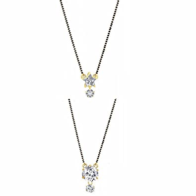 f36434d643f Archi Collection Jewellery Combo of Gold   Rhodium Plated American Diamond  Mangalsutra Pendant with Chain for
