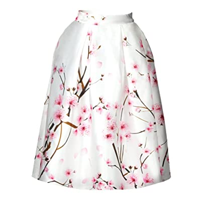 4PING Women's Summer Cherry Blossoms Creative Printing Puff Skirt Self-cultivation Big Skirt Digital Tie-Dyed Skirt