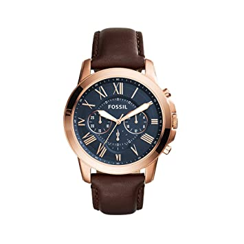 229eeb259207 Amazon.com  Fossil Men s Grant Quartz Stainless Steel and Leather  Chronograph Watch