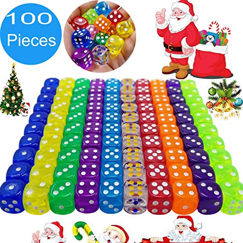 100 Pieces Translucent Colors 6-Sided Games Dice Set, 14 mm Round Corner Dice for Playing Games, Like Board Games, Dice Games, Math Games, Party Favors, Toy Gifts or Teaching Kids Math (100 Pack)]()
