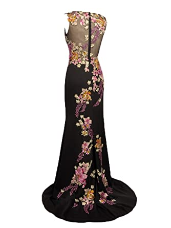 JOOOYS Floral Embroidery Long Mermaid Party Evening Dress Prom Gown (2, Black/Multi