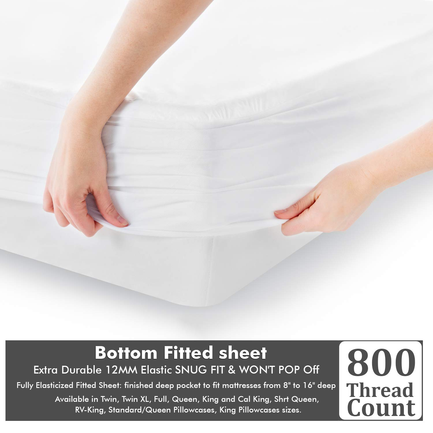 100% Cotton Sheets - Real 800 Thread Count California King 4 Piece Bed Sheet Set - Soft & Smooth Hotel Luxury 4pc Sheet Set Solid 15 inches Deep Pocket (Cal-King, White)