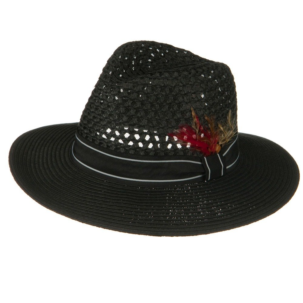 Jeanne Simmons Mens Large Brim Straw Fedora Hat Black W19S52C