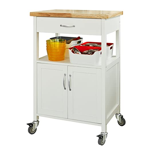 SoBuy® FKW22-WN, Kitchen Storage Trolley Cart with Doors and ...