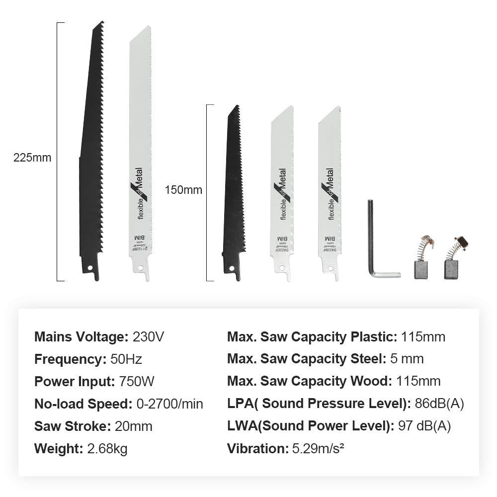 para Cortar Madera 115mm// Metal 5mm Sierra El/éctrica con 5 Hojas 0-2700RPM V VONTOX Sierra de Sable 750W Izquierda y Derecha 90/º