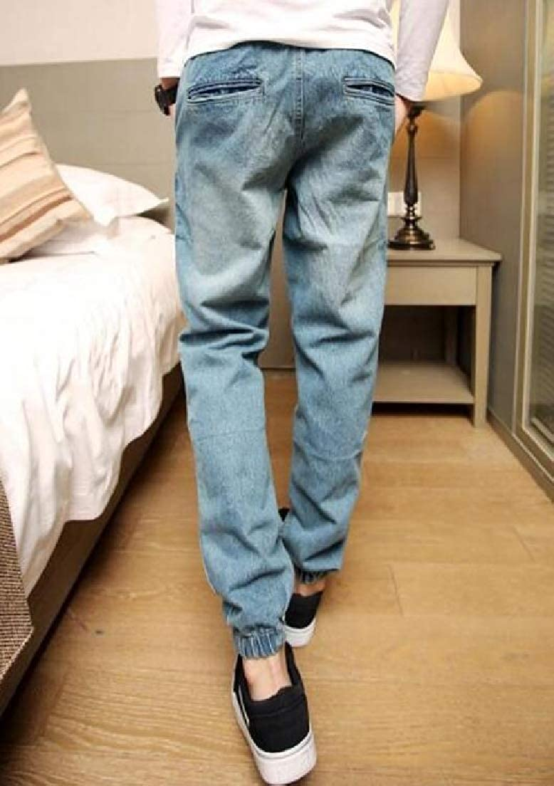 CRYYU Men Harem Trousers Elastic Waist Closed Washed Bottom Denim Jeans Pants