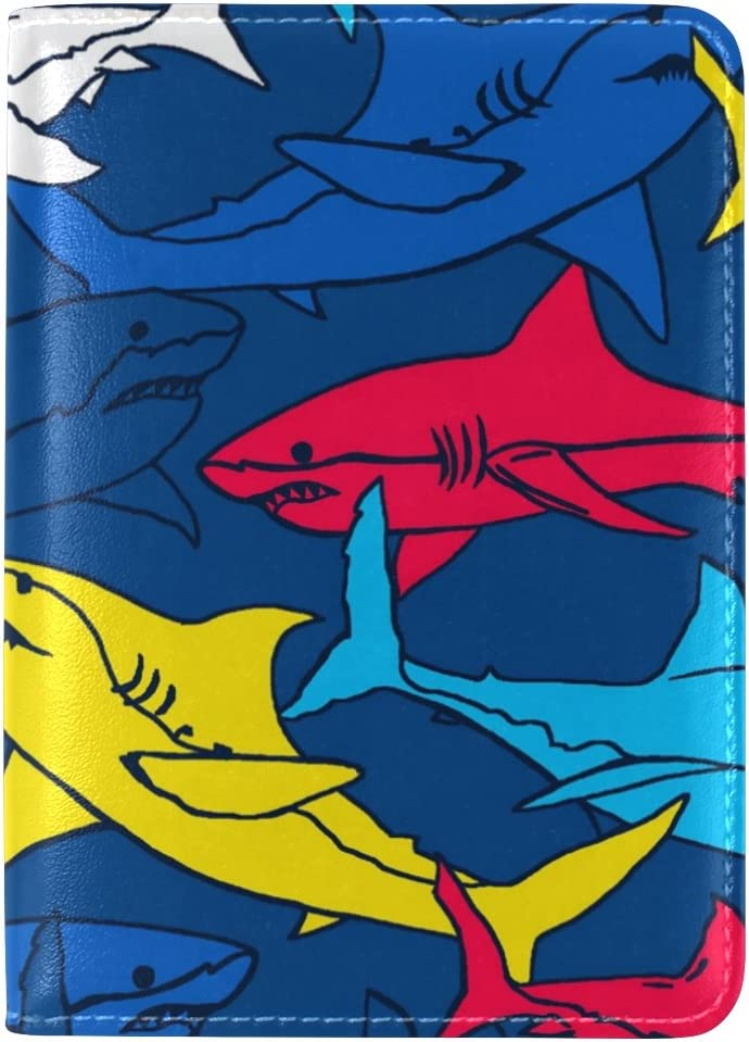 Personalized Rainbow Colorful Shark Travel Passport Covers Holder Case Protector