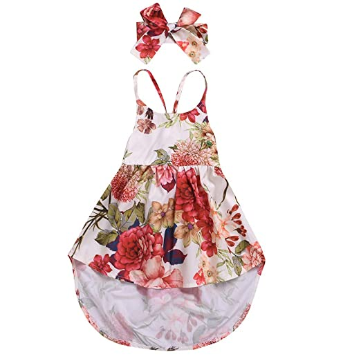 0736569e79b2 Amazon.com: Baby Dress Sets, Fineser Kid Girls Sling Floral Backless  Irregular Hem Strap Princess Toddler Dress Sundress+Headhand: Clothing