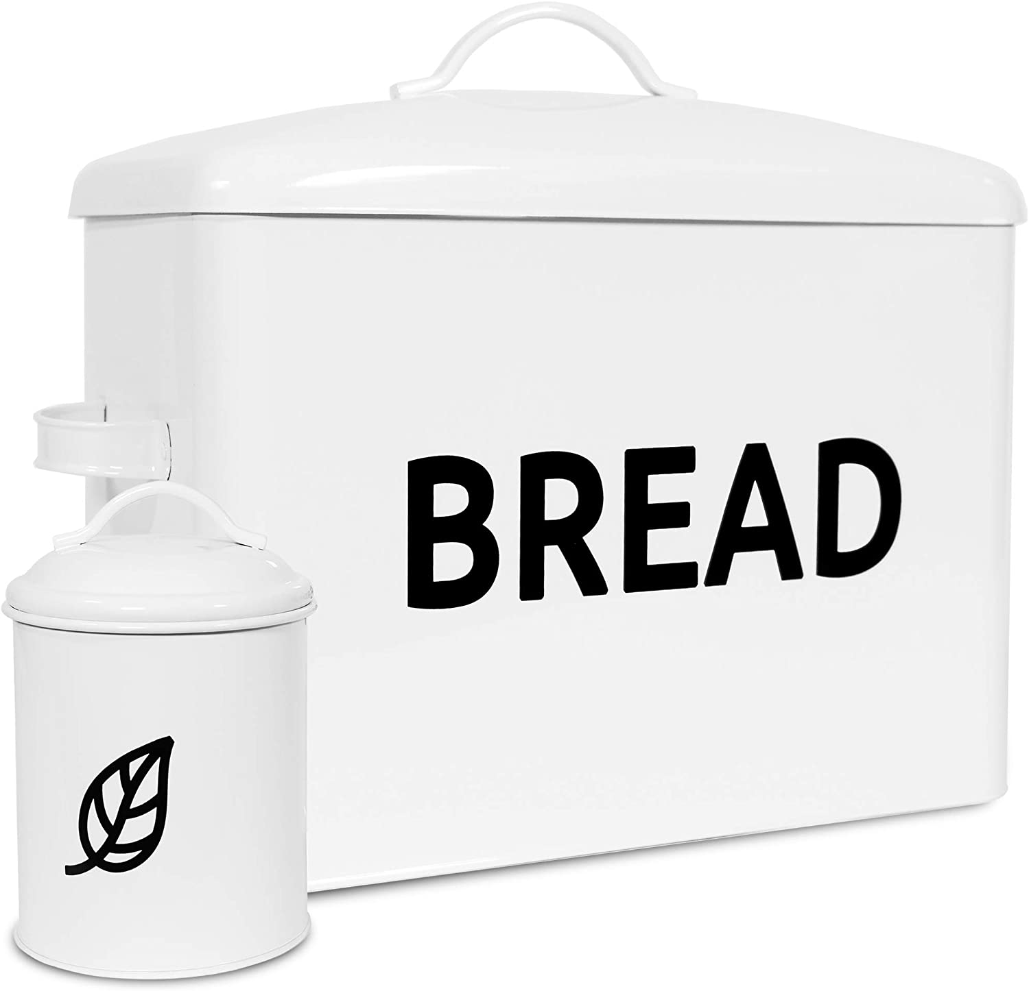 Extra Large Bread Box for kitchen Countertop - Modern Metal Container to Keep Bread Fresh - White Farmhouse Storage Boxes with Airtight Tin for Decor - Stylish Counter Organizer and Space Saver
