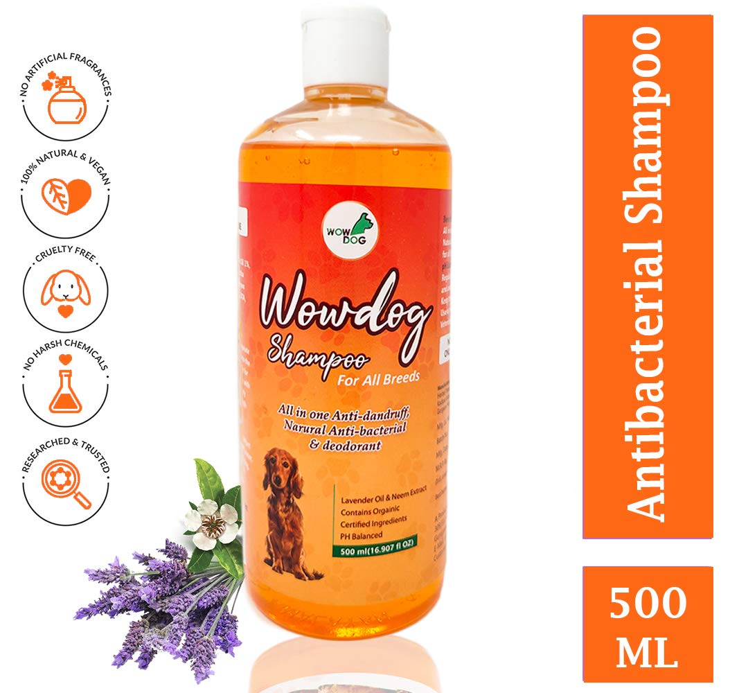 Wowdog Shampoo Natural Anti-Bacterial & Deodorant for All Breeds, 500 ml