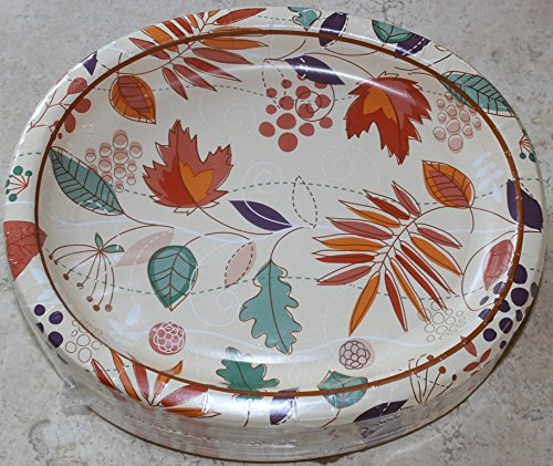 Thanksgiving/Autumn Leaves Oval Paper Plates (Large) - 10