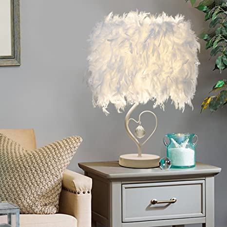 stoex lámparas de mesa en cristal pluma con cable y ...