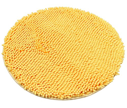 USTIDE Round Shag Chenille Rug Comfortable Soft Children Bath Room Rug Non-Skid Yellow Throw Rugs Mat for Toilet/Bedroom/Doorway 23.6 inches