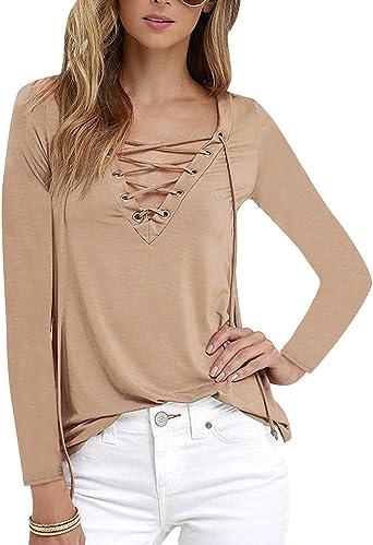 ISSHE Camisetas Cuello V Manga Larga Mujer Camiseta Interior para Dama Camisas Camisa Top Chica Blusas Bonitas Señora Remera Remera de Manga Larga Blusones Sudaderas Color Sólido: Amazon.es: Ropa y accesorios