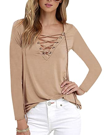 172733ff4008 ISSHE T Shirt Manche Longue Femme Tee Shirt Manches Longues Col V Imprimé  Chemise Top Haut T-Shirt Blouse Tops Sweat Pull Chemisier Casual Haults  Slim Fit ...