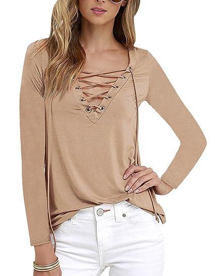Camisetas Cuello V Manga Larga Mujer Camiseta Interior para Dama Camisas Camisa Top Chica Blusas Bonitas