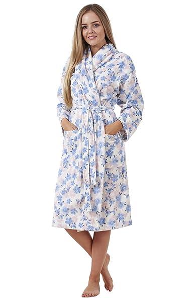 Albornoz para mujer - Apto para el invierno - Estampado floral - Floral sobre azul -