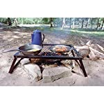 Texsport Heavy Duty Over Fire Camp Grill 3 Heavy-duty folding steel campfire grill. Welded high-quality steel Steel-mesh grill top for sturdy support