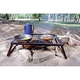 Texsport Heavy Duty Over Fire Camp Grill 6 Heavy-duty folding steel campfire grill. Welded high-quality steel Steel-mesh grill top for sturdy support