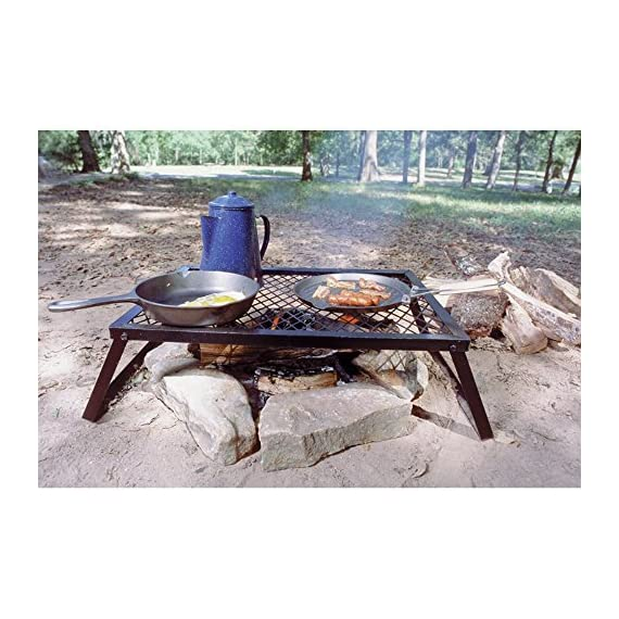 Texsport Heavy Duty Over Fire Camp Grill 1 Heavy-duty folding steel campfire grill. Welded high-quality steel Steel-mesh grill top for sturdy support