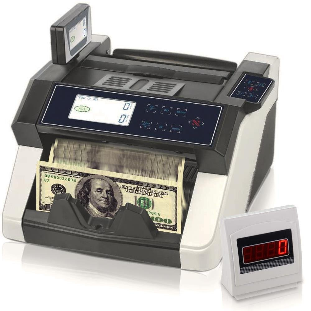 Upgraded Pyle Bill Counter, Cash, Automatic Counting Machine, Toploader, UV & MG Counterfeit Detection, UV Scanning, LCD Display, 1050 Pieces Per Min, U.S. & Canadian Dollar, Euros & Pound (PRMC680) by Pyle