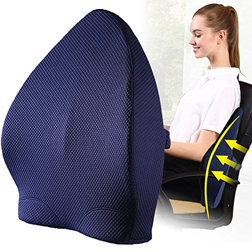 Lumbar Support Pillow Orthopedic Design for Back Pain Relief,Lumbar Support Back Cushion with Premium Adjustable Strap and Washable Cover for Easy Posture in the Car, Office or Home Chair Plane by SUNNORS