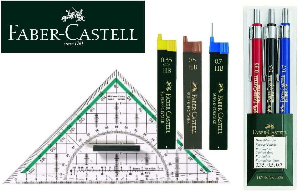 Dreieck 5 Bleistifte Minen Faber-Castell 130622/l/ápiz TK-Fine 3/unidades un l/ápiz de 0,35/mm, 0,5/mm y 0,7/mm