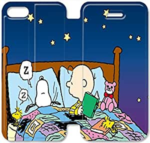 Personality Design Charlie Brown And Snoopy-10 iPhone 5 5S Leather Flip Case