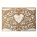 50X WISHMADE Heart Design Gold Laser Cut Printable Invitations Kit Card Stock For Wedding Engagement Bridal Shower Baby Shower Birthday Festival Events Party with Envelope