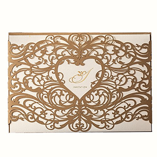 50X WISHMADE Heart Design Gold Laser Cut Printable Invitations Kit Card Stock For Wedding Engagement Bridal Shower Baby Shower Birthday Festival Events Party with Envelope CW5018