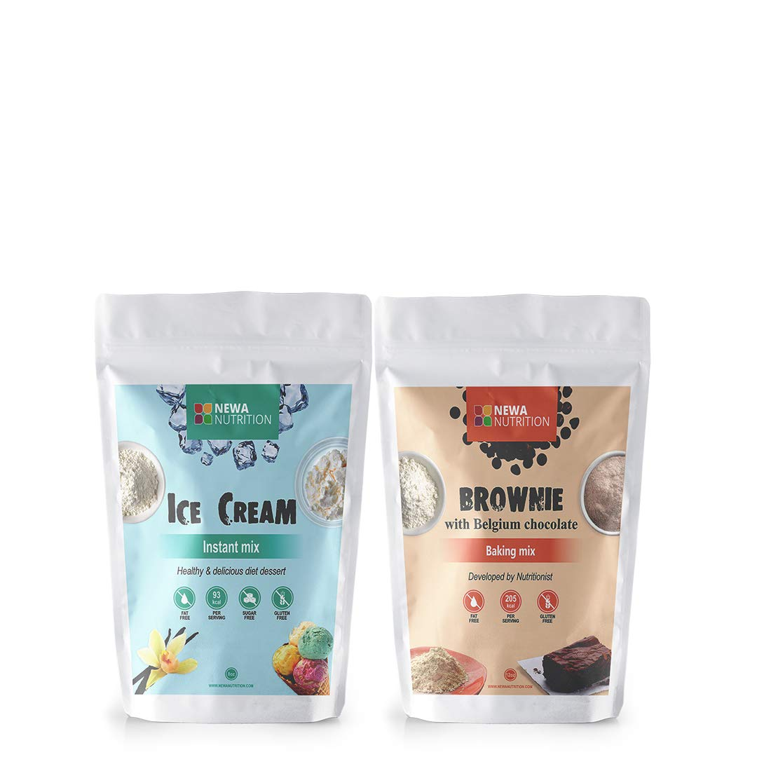 Newa Nutrition Brownie & Ice Cream Dessert, Healthy Low Calories, Protein, Sugar Free