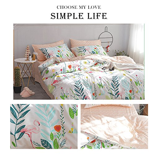 HIGHBUY Cotton Full Comforter Cover for Kids Girls White Peach Floral Flamingo Leave Printing Reversible Fresh Design Queen Bedding Sets for Children Boys with Chevron Stripe Pattern,Zipper Closure by HIGHBUY (Image #5)