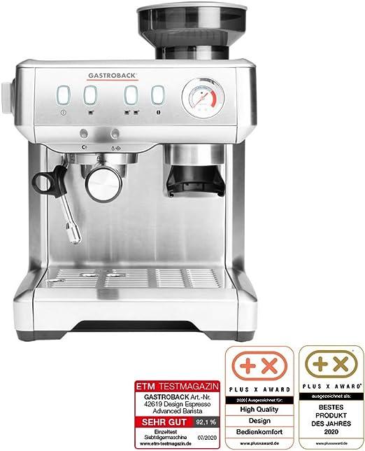 Gastroback 42619 Design Espresso Advanced Barista - Cafetera italiana programable con portafiltros y mecanismo de molinillo y bomba de café ULKA profesional (15 bar), acero inoxidable: Amazon.es: Hogar