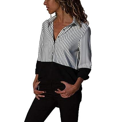 Camisas con Botones Mujer,❤ Modaworld Camisetas a Rayas de Manga Larga Casual para