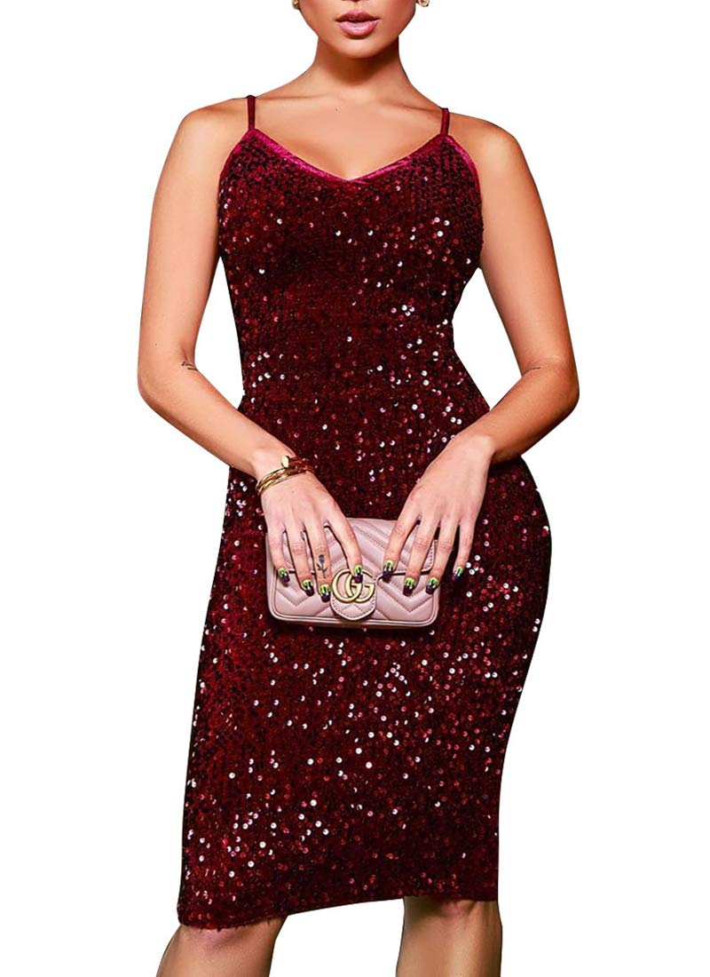 Womens Sequin Spark Dresses for Party Club Evening Nightout Plus Size Glitter Sexy Bodycon Short Mini Dress Wine M