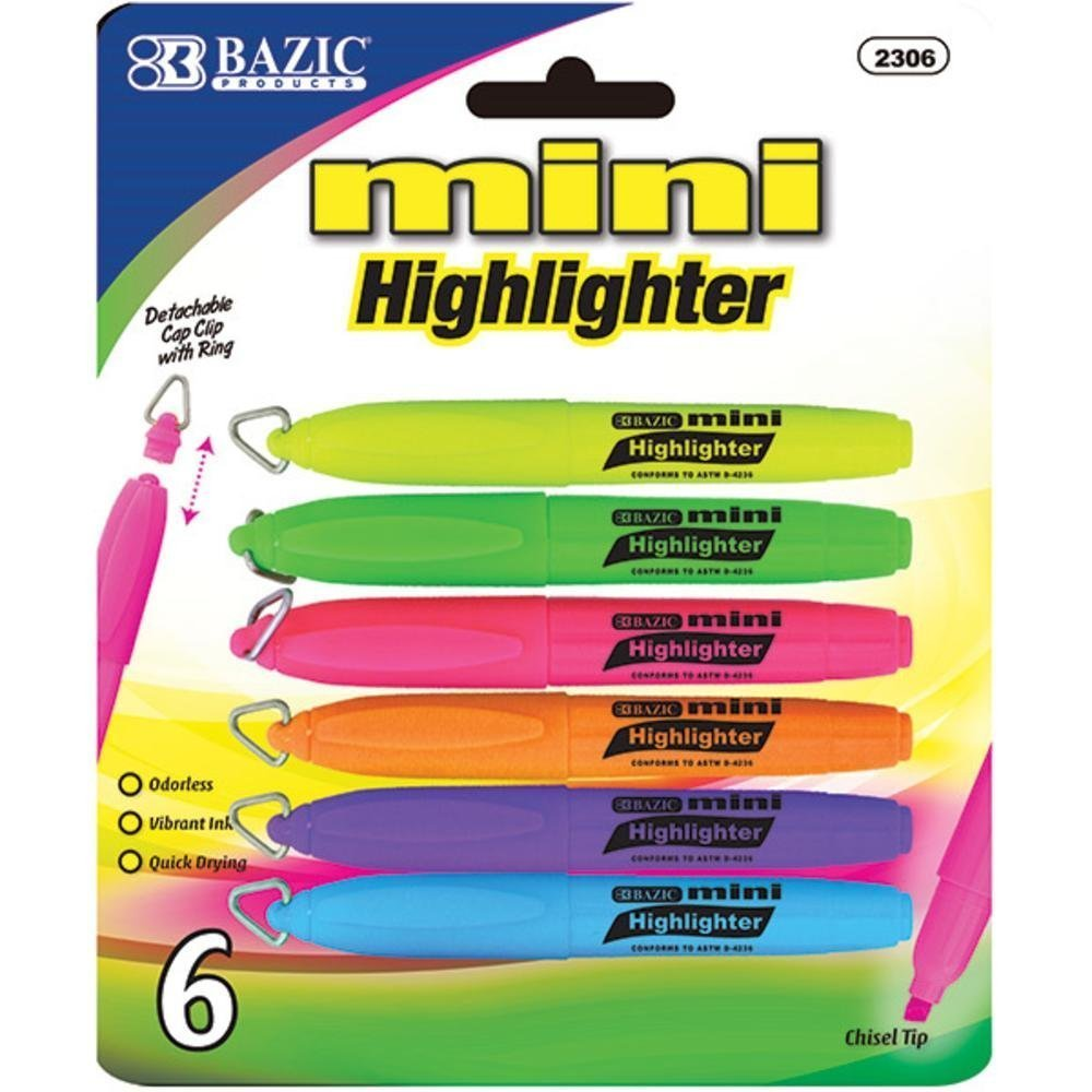 BAZIC Mini Fluorescent Highlighter w/ Cap Clip (6/Pack), Case Pack of 144