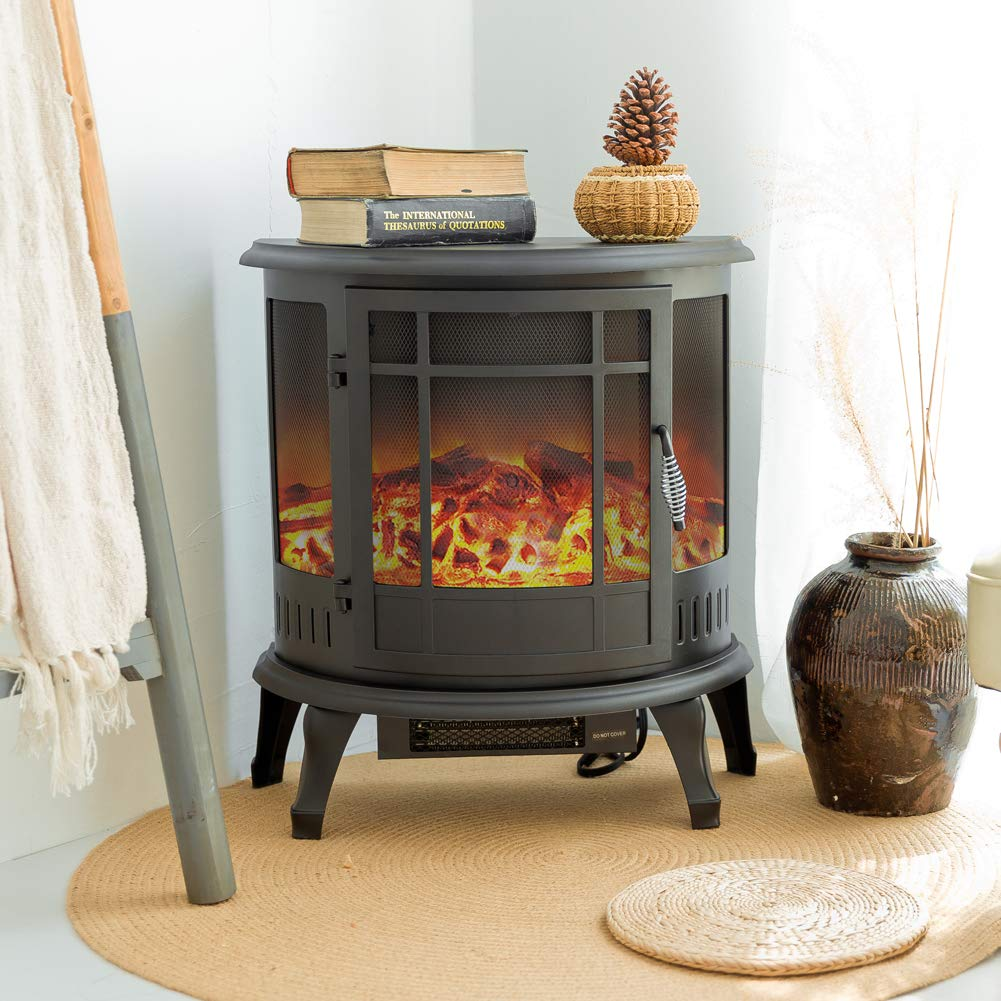 FLAME&SHADE Electric Fireplace Wood Stove Heater Portable Freestanding, Log Flame Effect with Remote and Thermostat, Black, 750W/1500W, W22 X H25 by FLAME&SHADE