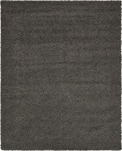 Unique Loom Solid Shag Collection Graphite Gray 8 x 10 Area Rug (8' x 10')