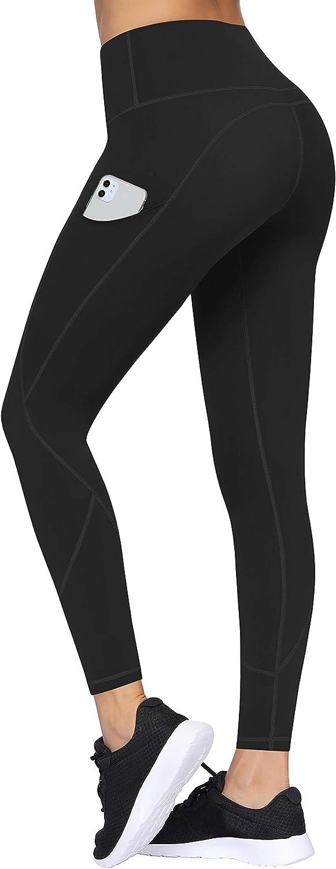 TQD High Waisted Yoga Pants for Women, Pocket Yoga Pants Tummy Control Workout Running Pants 4 Way Stretch Yoga Leggings