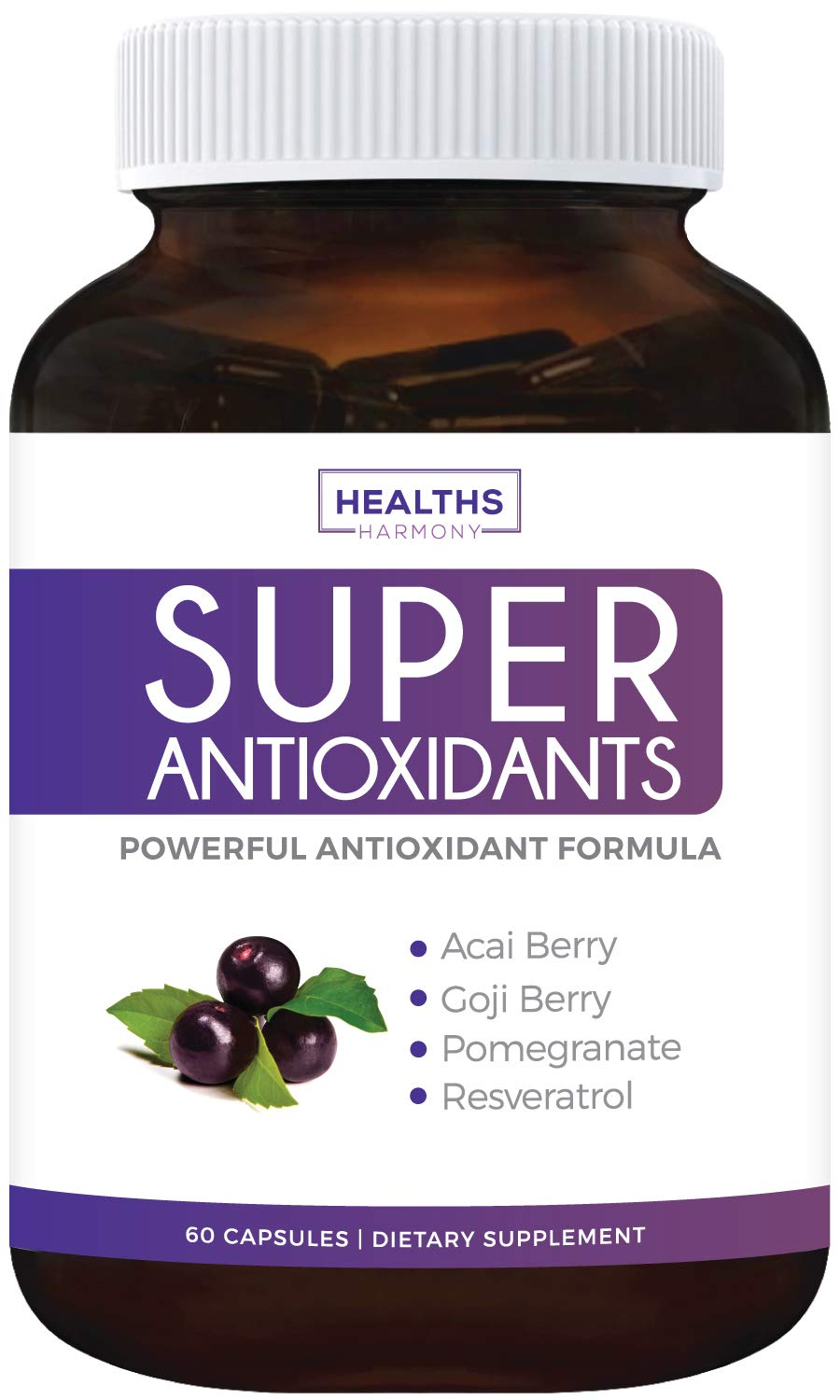 Super Antioxidant Supplement | Powerful Super Food Antioxidants Blend | Acai Berry, Goji Berry, Pomegranate & Trans Resveratrol | Natural Herbal & Fruit Formula | Skin Care | Made in USA | 60 Capsules