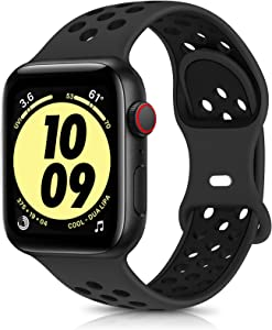 OYODSS Sport Bands Compatible with Apple Watch Band 38mm 40mm 42mm 44mm, Breathable Soft Silicone Replacement Wristband Strap Compatible with iWatch Series 6 5 4 3 2 1 SE Women Men Anthracite&Black