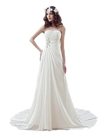 07cd27dac6 OYISHA Women's Strapless Beaded Chiffon Beach Wedding Dresses For Bride WD1  Ivory ...